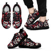 Sugar Skull Red and Black Men's Sneakers