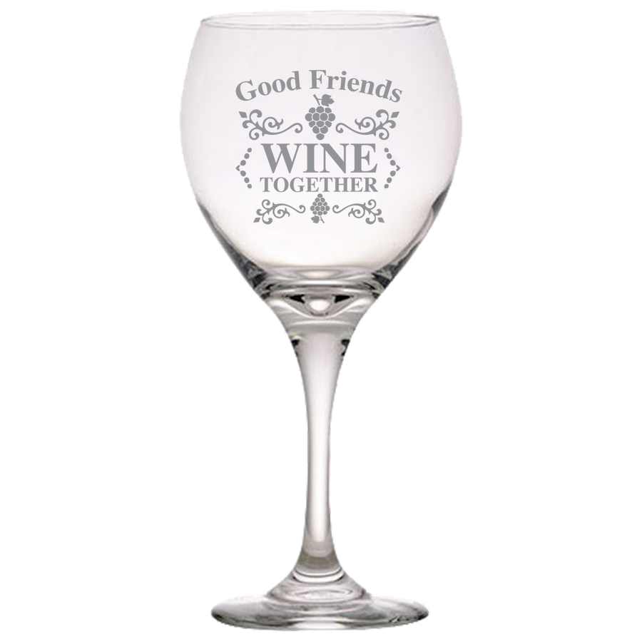 Red Wine Glass Laser Etched