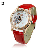 Stylish Women's Butterfly Rhinestone Analog Quartz Wrist Retro Leather Watch