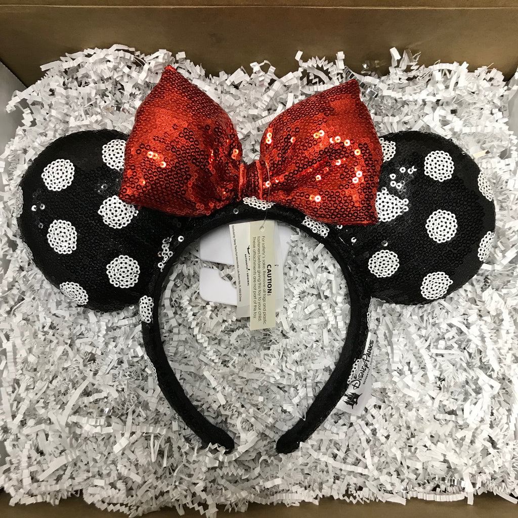 Ear Headband: Minnie Mouse White Polka Dot Sequin