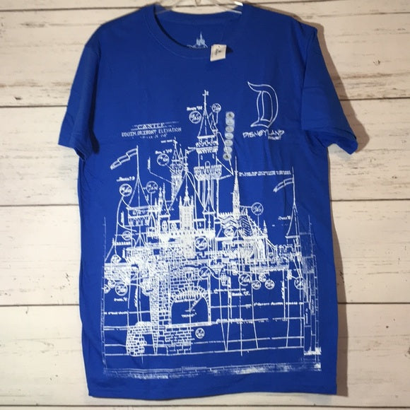 Wishlist - Apparel - T-Shirt: Disneyland Castle Blueprint - 2 - LARGE (Unisex)
