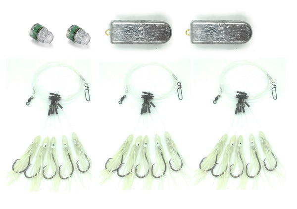 5 Hook Deep Drop Rig Bundle - 3 Rigs, 2 Lights, 2 Weights