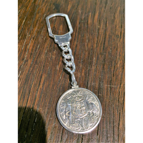 Sterling Silver Tension Lock Keychain - 1966 Round 50 Cent - Bezel