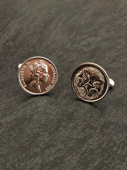 Australia enameled coin cufflinks 5 cents  Spiny Anteater  1994 1995 1996 1997 1998 1999 2000 2001 2002 2003 2004 2005 2006 2007 2008 2009
