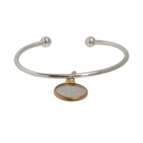 Threepence cuff bracelet - sterling silver