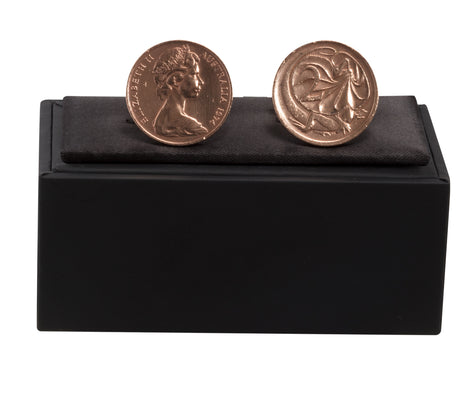 AUSTRALIAN 2 CENTS CUFF LINKS - STERLING SILVER - FRONT