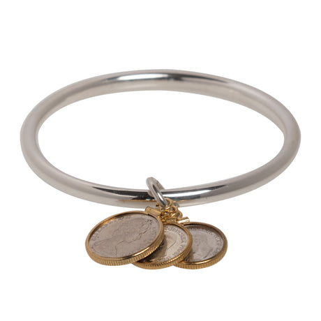 AUSTRALIAN THREEPENCE + 5 CENT STERLING SILVER BANGLE - ANGLE