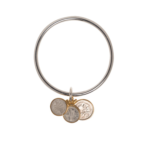 AUSTRALIAN THREEPENCE + 5 CENT STERLING SILVER BANGLE - FRONT