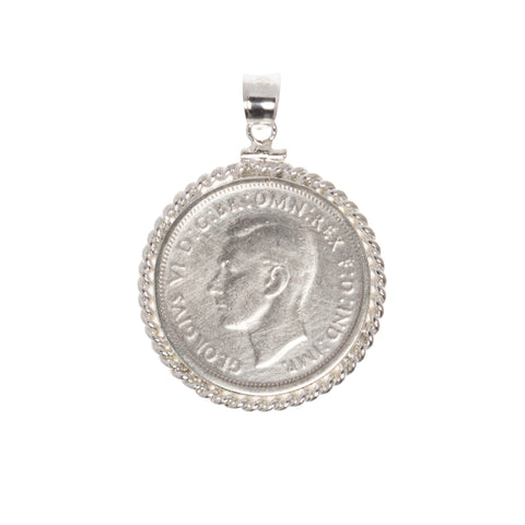 AUSTRALIAN FLORIN - TWISTED ROPE BEZEL - STERLING SILVER - BACK
