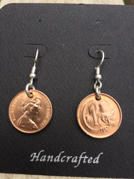 MINT CONDITION 1 CENT - STERLING SILVER EARRINGS