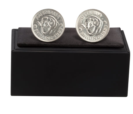 AUSTRALIAN SHILLING CUFF LINKS - STERLING SILVER - FRONT