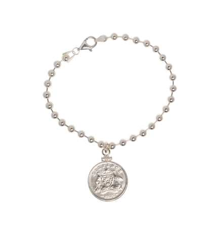 AUSTRALIAN SIXPENCE - STERLING SILVER BEAD BRACELET - FRONT