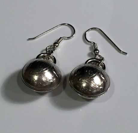 AUSTRALIAN SIXPENCE EARRINGS - DOMED - FRONT