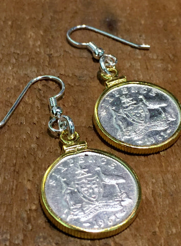 AUSTRALIAN SIXPENCE - GOLD FILLED BEZEL EARRINGS