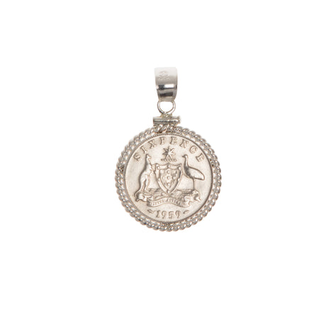 Australian Sixpence Housed in a Sterling Silver Twisted Rope Bezel - Front
