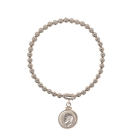 STERLING SILVER BEAD BRACELET - 5MM - AUSTRALIAN THREEPENCE - BACK