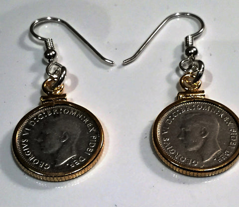 AUSTRALIAN THREEPENCE - GOLD FILLED EARRINGS - REAR