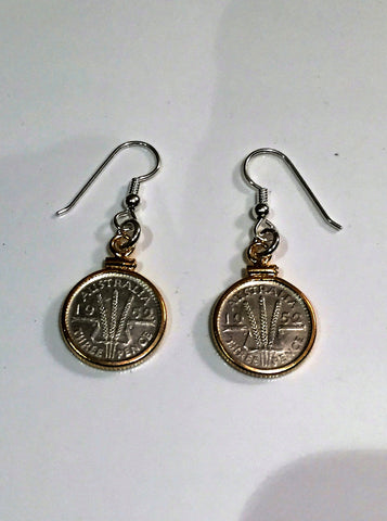 AUSTRALIAN THREEPENCE - GOLD FILLED EARRINGS