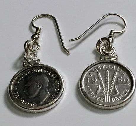 AUSTRALIAN THREEPENCE STERLING SILVER EARRINGS - FRONT