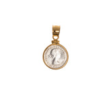 AUSTRALIAN THREEPENCE - GOLD FILLED BEZEL - BACK