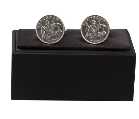 Australian Sixpence Cufflinks - Sterling Silver - Choose your Year