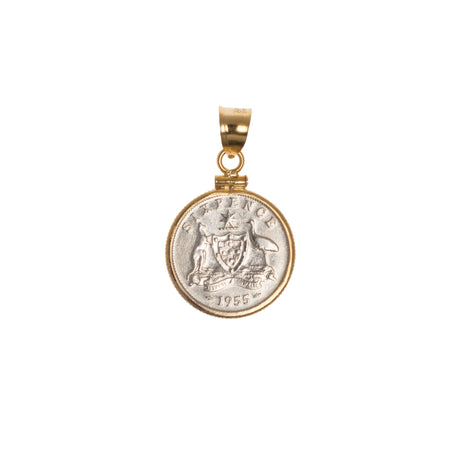 Australian Sixpence housed in a Gold filled Bezel - Choose the Year - front