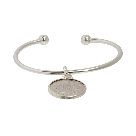 Sterling silver cuff bracelet with Australian Sixpence. 1910-1963
