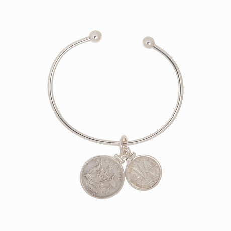 AUSTRALIAN SIXPENCE + THREEPENCE - STERLING SILVER CUFF BRACELET - FRONT