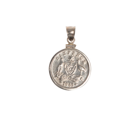 Australian Sixpence - Sterling Silver Bezel - Choose your year - Front
