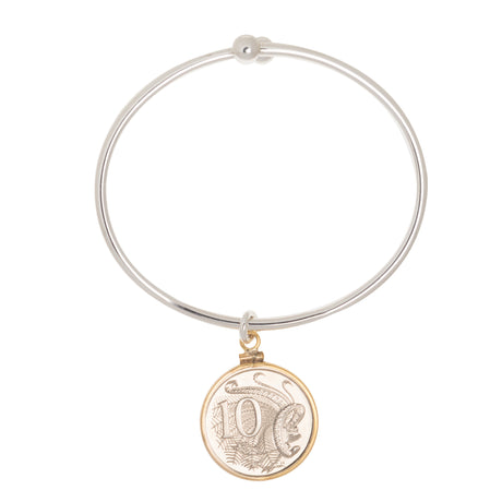 Sterling silver ball end bangle with Australian 10 cent gold filled frame - front