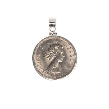 BRITISH FLORIN - STERLING SILVER BEZEL - BACK