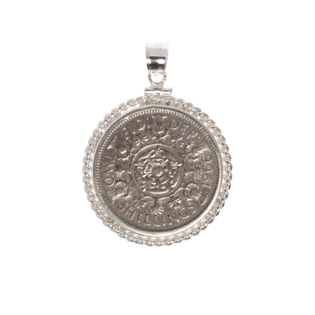 BRITISH FLORIN - STERLING SILVER TWISTED ROPE BEZEL - FRONT