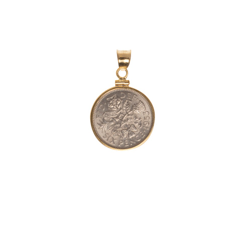BRITISH SIXPENCE - STERLING SILVER 14CT GOLD FILLED BEZEL - FRONT