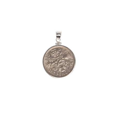 BRITISH SIXPENCE - STERLING SILVER BEZEL - FRONT