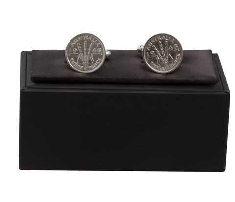 AUSTRALIAN THREEPENCE CUFF LINKS - STERLING SILVER