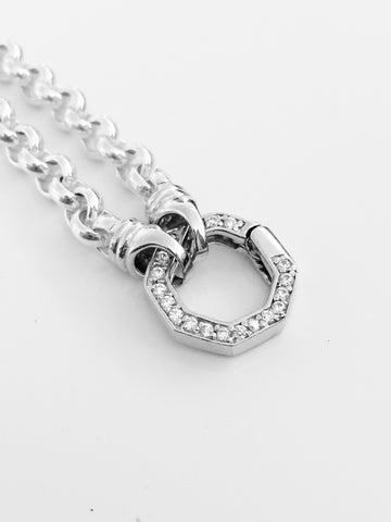 Sterling Silver Belcher Necklace + Cubic Zirconia Spring Loaded Lock