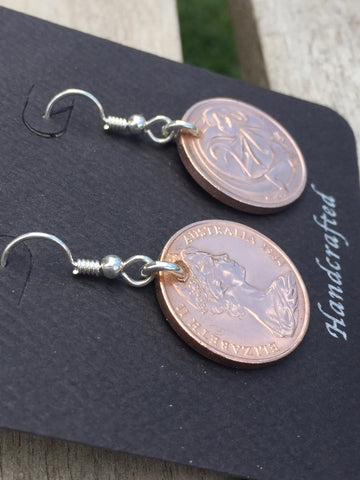 AUSTRALIAN UNCIRCULATED 2 CENT - STERLING SILVER EARRINGS - ANGLE