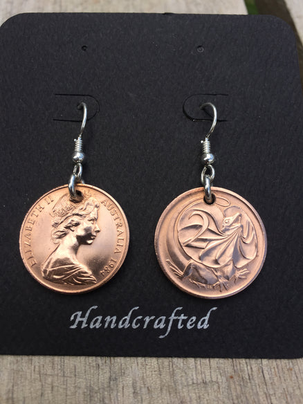 AUSTRALIAN UNCIRCULATED 2 CENT - STERLING SILVER EARRINGS - FRONT