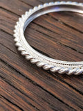 Sterling Silver Twisted Rope Bezel - Side