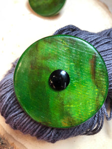 Green Wooden Shawl Key or Button