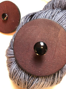 Brown Leather Shawl Key or Button