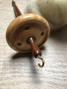 Tiger Maple and Walnut Wooden Hand turned Drop Spindle
