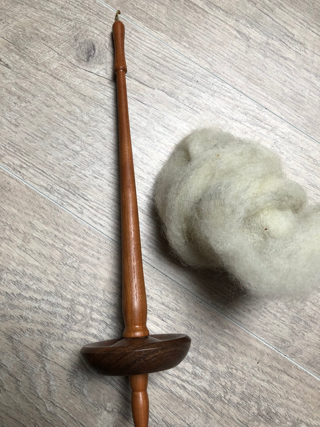 Cherry and Walnut Hand Turned Drop Spindle