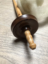 Load image into Gallery viewer, Walnut and Tiger Maple Hand Turned Drop Spindle