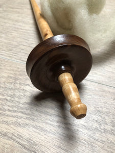 Walnut and Tiger Maple Hand Turned Drop Spindle