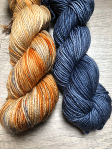 Carved Pumpkin- Dark Denim DK Weight Yarn- Oneta