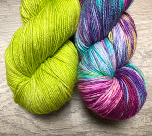 Lime Light / Confetti Sock Weight Yarn Kit