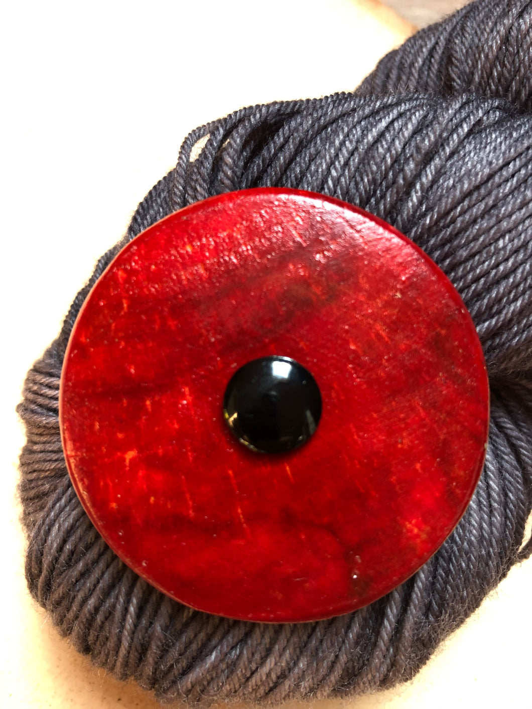 Red Wooden Stained Shawl Key or Button