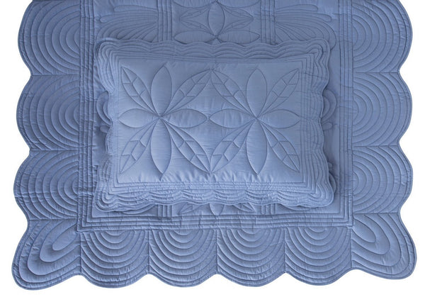 Bonne Mere SINGLE BEDSPREAD QUILT AND PILLOW SET - DENIM