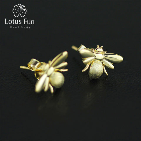 925 Sterling Silver Handmade Cute Honeybee Earrings for Women